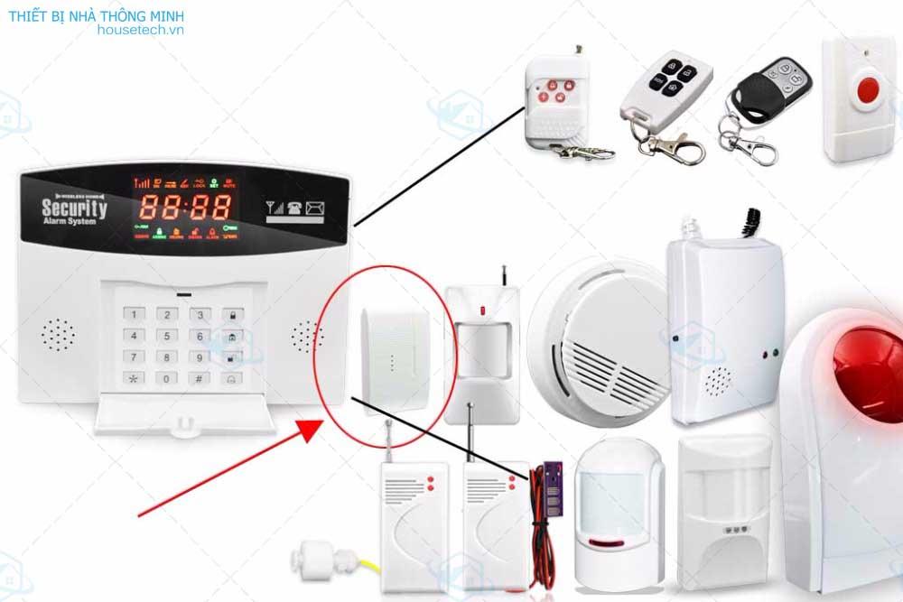 Báo động cửa mở cảm biến mã từ phát sóng HT008 kết hợp với Hệ thống báo động trung tâm