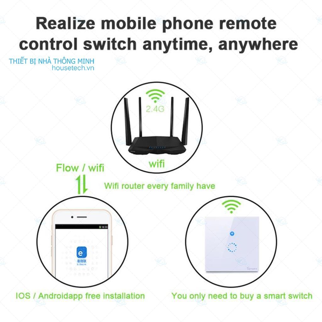 Công tắc điều khiển từ xa qua wifi âm tường Sonoff Touch tại Hà Nội