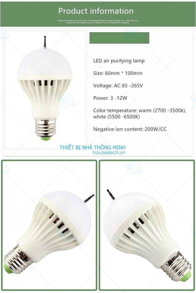 Bóng đèn led 12w lọc không khí