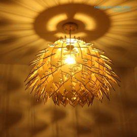 đèn gỗ hình hoa atiso ht626